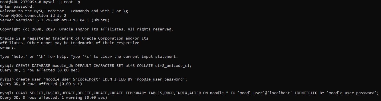 Création de l'utilisateur et de la base de données MySQL