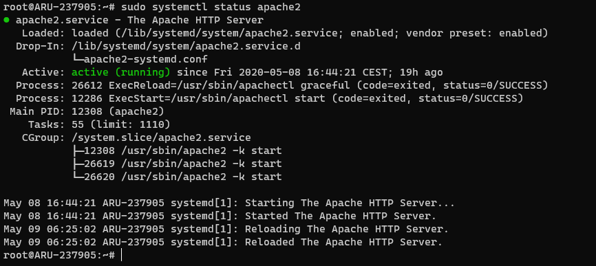 Status of the Apache process